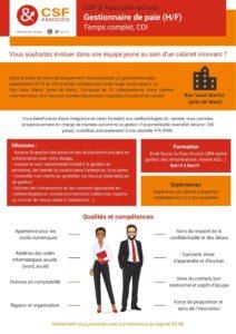 fiche gestionnaire de paie recrutement CSF & Associés